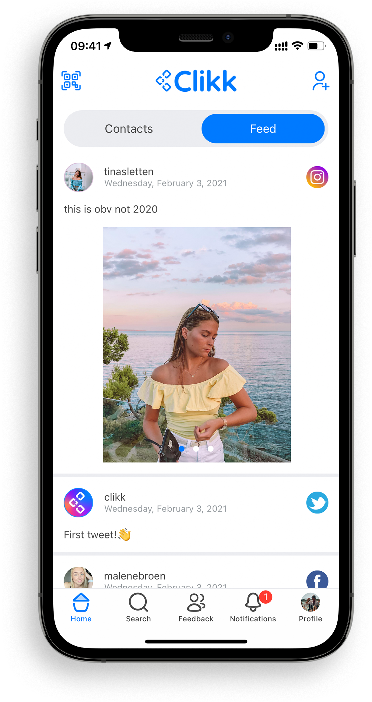 Clikk gives a home to all of your social profiles and combines their feeds.